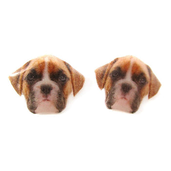 Realistic Boxer Dog Face Shaped Animal Resin Stud Earrings | Made To Order | Handmade | DOTOLY