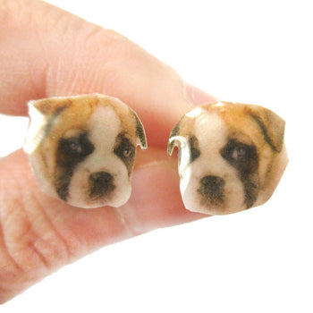 Realistic Boxer Puppy Dog Face Shaped Animal Resin Stud Earrings | Made To Order | Handmade | DOTOLY