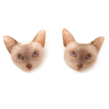 Realistic British Shorthair Kitty Cat Face Shaped Animal Resin Stud Earrings | DOTOLY