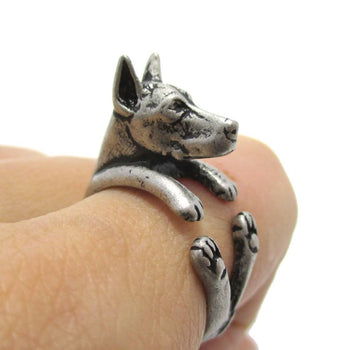Realistic Doberman Pinscher Dog Shaped Animal Wrap Ring in Silver | Sizes 5 to 9 | DOTOLY