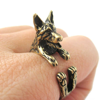 Realistic German Shepherd Shaped Animal Wrap Ring in Brass | Sizes 4 to 8.5 | DOTOLY