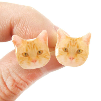Realistic Ginger Kitty Cat Face Shaped Animal Resin Stud Earrings | Made To Order | Handmade | DOTOLY