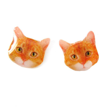 Realistic Ginger Tabby Kitty Cat Face Shaped Animal Resin Stud Earrings | Made To Order | Handmade | DOTOLY