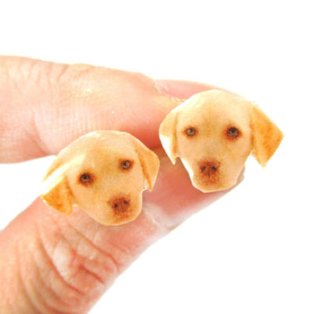 Realistic Golden Retriever Puppy Head Shaped Animal Resin Stud Earrings | Made To Order | Handmade | DOTOLY