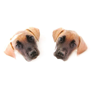 Realistic Great Dane Face Shaped Animal Resin Stud Earrings | Made To Order | Handmade | DOTOLY