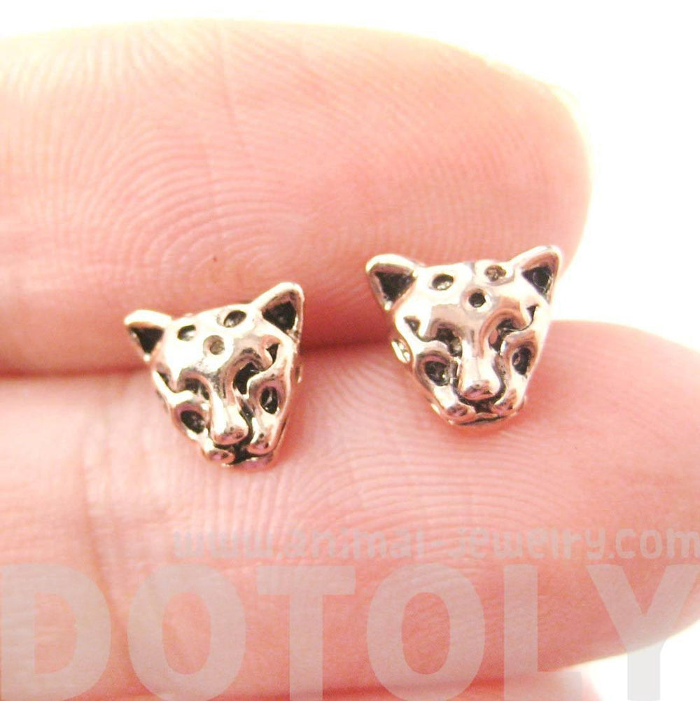 Realistic Leopard Tiger Cheetah Shaped Animal Themed Stud Earrings in Rose Gold | DOTOLY