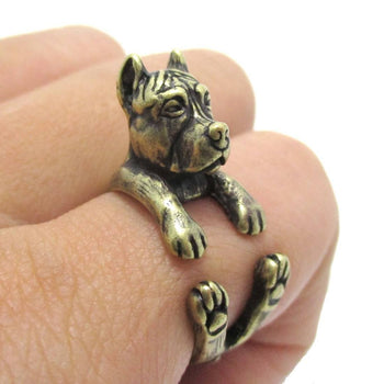 Realistic Pit Bull With Cropped Ears Shaped Animal Wrap Ring in Brass | Sizes 5 to 9 | DOTOLY