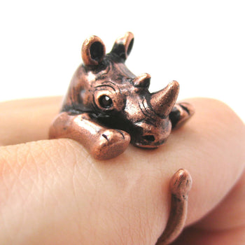 Rhino Rhinoceros Animal Wrap Around Ring in Copper - Size 5 to 10 | DOTOLY