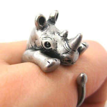 Rhino Rhinoceros Animal Wrap Around Ring in Silver - Size 5 to 10 | DOTOLY