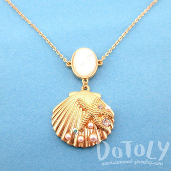 Seashell Starfish Ocean Inspired Mermaid Jewelry Pendant Necklace in Gold | DOTOLY