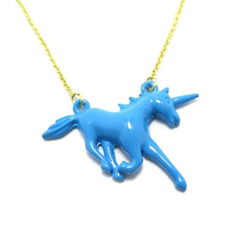 Unicorn Horse Animal Shaped Pendant Necklace in Blue | Animal Jewelry | DOTOLY
