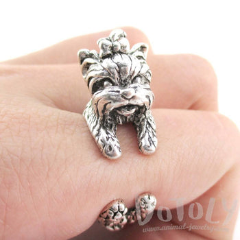 Yorkshire Terrier Dog Shaped Animal Wrap Around Ring in Silver | Sizes 5 to 8 | DOTOLY