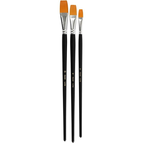 3 x Assorted Gold Line Nylon Synthetic Hair Flat Brush With Wooden Handle For Painting - Hobby & Crafts