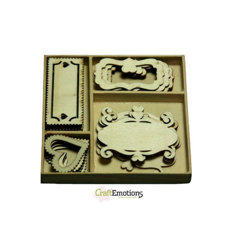 Wooden Ornament Decorations Embellishments Toppers 4 x Assorted Design Fantasy Frames - Hobby & Crafts