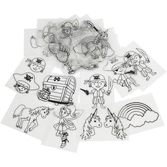36 x Assorted Designs Pirates Unicorn Motives Shrink Plastic Sheets Childs Crafts - Hobby & Crafts