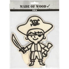 EVA Foam Pirate Motif Wooden Figure With Stand Painting Clay Decoration Crafts - Hobby & Crafts