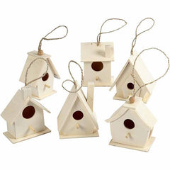 6 Wooden Mini Bird House With String To Paint/Decorate 7 cm - Hobby & Crafts