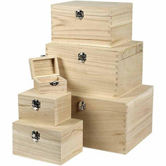 6 x Wooden Treasure Chests Storage Metal Clasps Box Set To Decorate - Hobby & Crafts