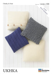 4 x Chunky Aran Knitting Pattern Assorted Size Cushion Covers - Hobby & Crafts