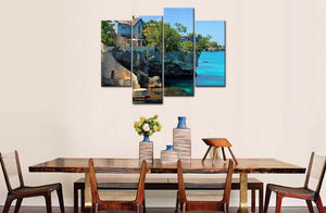 BANMU 4 Panel Wall Art Painting Coastal House In Negril Jamaica Cliffs | Prints On Canvas Seascape Print Decor