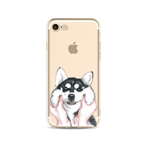 Silicone Transparent Phone Case for iPhone- Cute Pup