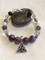 Lepidolite, Clear Quartz, Smokey Quartz, Mother of Pearl, Black Agate Bracelet with Pewter Amulet