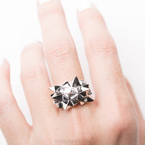 STELLAMAX - 3d Printed Ring - Rhodium-Plated Brass