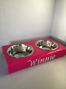 Pets Personalised medium dog double feeding bowl stand with 2 x 21cm bowl