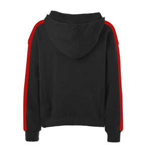 Oversized Stripe Drawstring Hoodie - Black/Red - Insurgence Wear - Affordable Streetwear Essentials