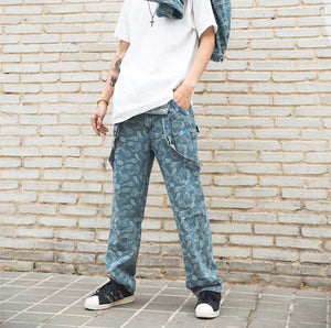 Printed Denim Overalls - Insurgence Wear - Affordable Streetwear Essentials