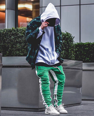 Retro Trackpants S2 - Green double White - Insurgence Wear - Affordable Streetwear Essentials