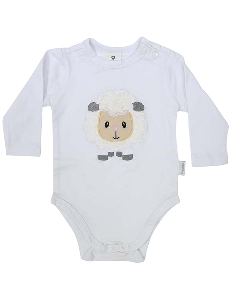 KORANGO Baa Baa White Sheep Bodysuit with Applique in White