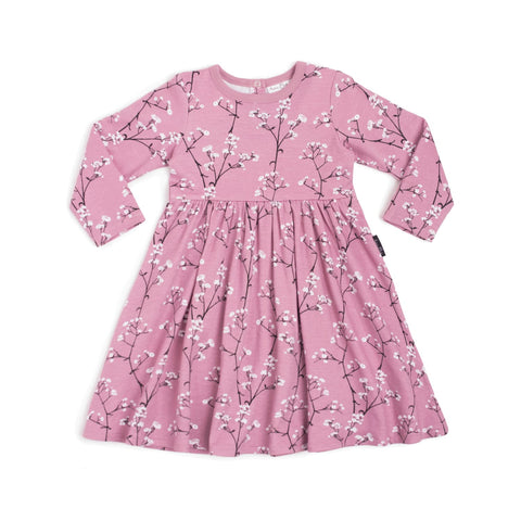 Aster & Oak Organic MAGICAL GARDEN Baby's Breath LS Flare Dress