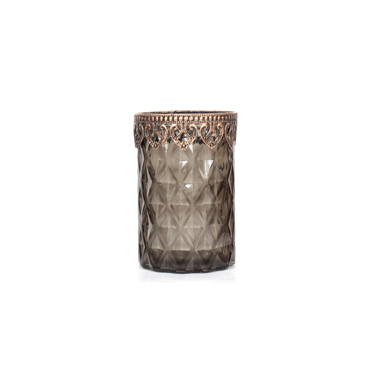 Agra Cylindrical Diamonds Candle Holder Tall - Green