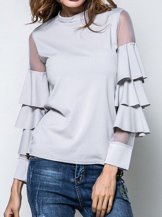 Pleated Sleeve Solid Color Top