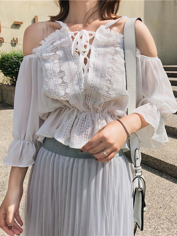 Romantic Lace-up Top
