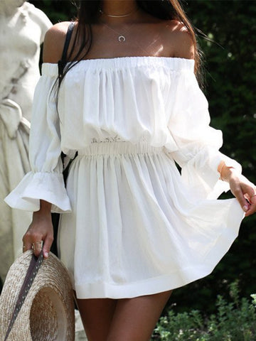 Pinstriped Cold Shoulder Mini Dress