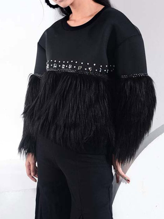 Super Supple Faux Fur Sweatshirt With Rhinestone