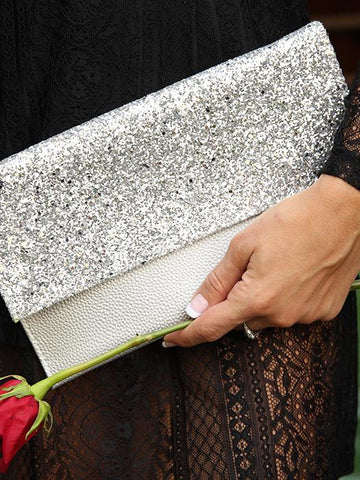 Shimmer Clutch Bag With Metal Chain