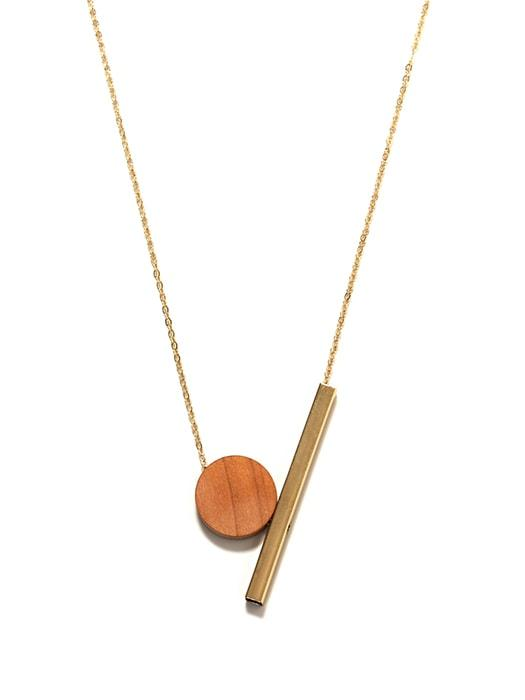 Wood on Copper Pipe Necklace Sweater Chain