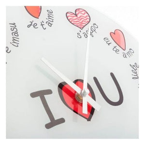 Ceas de perete multilingv I Love You, 28,5 x 0,3 x 28,5 cm