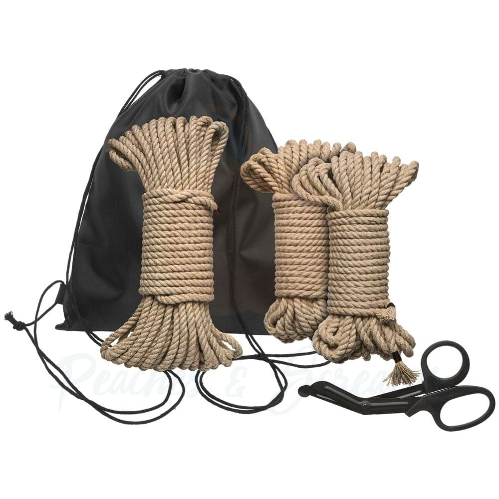 Kink Bind and Tie Initiation 5-Piece Hemp Rope Kit for Bondage - Peaches & Screams