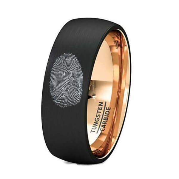Finger Print Engraved Tungsten With Rose Gold Inlay Brushed Wedding Ring - 8 mm - Ring
