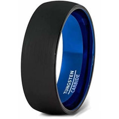 Men Domed Black Tungsten Wedding Ring With Brushed Center Blue Inside 6mm & 8mm - Ring