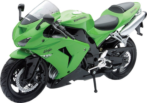 REPLICA 1:12 SUPER SPORT BIKE 06 KAWASAKI ZX10R GREEN New-Ray Toys 42443A