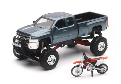 REPLICA 1:43 TRUCK/RACE BIKE CHEVY GREY/HONDA BIKE RED New-Ray Toys