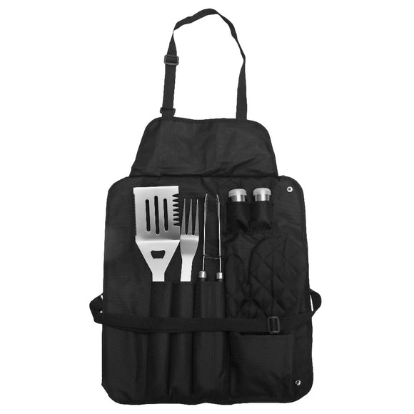 7pcs Stainless Steel BBQ Grill Tools Set Outdoor Portable Carry Case Cooking Grill Accessories with Apron Dress