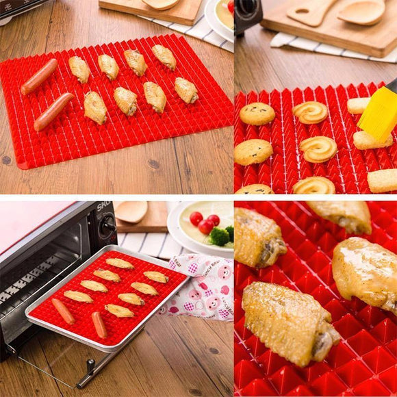 140g Pyramid Bakeware Pan NonStick Silicone Baking Mat Pads for Oven Barbecue Tray. May be used in the microwave and is dishwasher safe. May be cut to desired size.