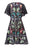 Womens Black Multi Bird Tree Lace Dress