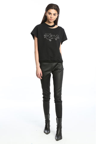Womens Black Coated Twill Skinny Pants